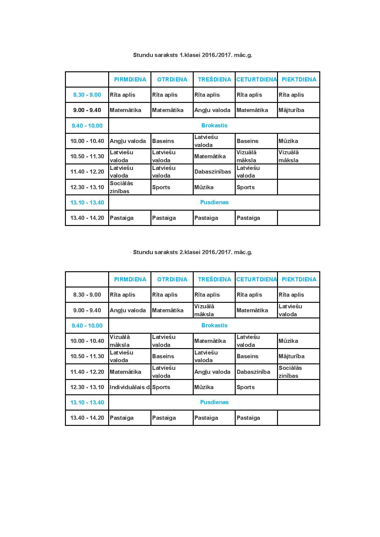 Stundu saraksts 1 - 2 klase